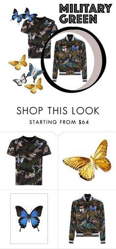 """Butterflies and camouflage for Valentino"" by ducadaosta on Polyvore featuring Valentino, Liljebergs, NOVICA, men's fashion e menswear"