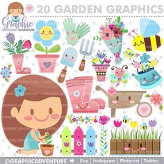 "27 Likes, 1 Comments - GraphicAdventure (@graphicadventure) on Instagram: ""Spring Graphics with cute flowers  and some garden elements! ...........  Personal and Small…"""