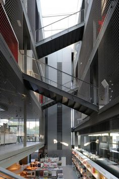 RBC Design Centre Montpellier by Jean Nouvel Stairs Architecture, Gothic Architecture, Interior Architecture, Commercial Architecture, Montpellier, Jean Nouvel, Atrium Design, Saint Ouen, Mall Design