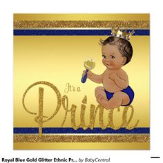 Royal Blue Gold Glitter Ethnic Prince Baby Shower Invitation