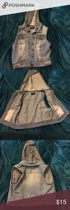 Jean Vest Light washed, Blue Jean Vest with Gray hoodie Ci Sono Jackets & Coats Vests