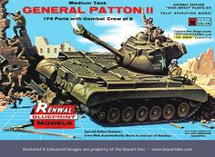 """Renwal General Patton ll Red Logo BP I built this as """"Battle of the Bulge"""" movie Tiger tank in the 70's.  John Kleptz"""