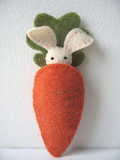 So cute! The little bunny comes out of the carrot to play and has a puffy little cottontail!