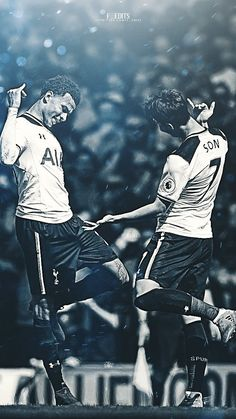 Dele Alli of Tottenham Hotspur (L) celebrates scoring his sides first goal with Heung-Min Son of Tottenham Hotspur (R) during the Premier League match between Tottenham Hotspur and Watford at White Hart Lane on April 2017 in London, England Manchester United Wallpaper, Manchester United Soccer, Tottenham Hotspur Wallpaper, Football Celebrations, Fifa, Tottenham Hotspur Players, Dele Alli, Tottenham Hotspur Football, Fc Chelsea