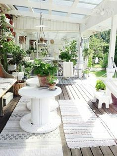 """While some may call these DIY tables, """"spool tables"""" they are not true spool furniture. Outdoor Areas, Outdoor Rooms, Outdoor Living, Outdoor Decor, Outdoor Tables, Garden Cottage, Home And Garden, Farmhouse Garden, Indoor Garden"""