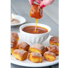 Homemade Cinnamon Sugar Soft Pretzel Bites with Salted Caramel Dipping Sauce