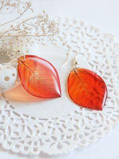 Red leaves Earrings - Dangle Transparent Leaf Earrings - Summer Earrings - Red…