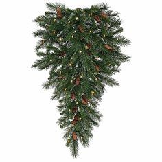 30 PreLit Cheyenne Pine Artificial Christmas Teardrop Swag  Clear Dura Lights -- Visit the image link more details.