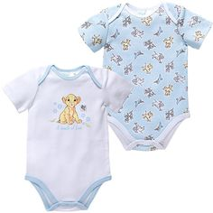 2 Pack Cotton Short Sleeve Bodysuits Disney The Lion King ❤ liked on Polyvore