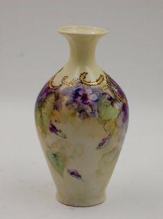 ANTIQUE LIMOGES VIOLET HAND PAINTED VASE | eBay Porcelain Jewelry, Porcelain Ceramics, China Porcelain, Painted Porcelain, Sweet Violets, Antique Dishes, China Tea Sets, Vintage Vases, China Painting