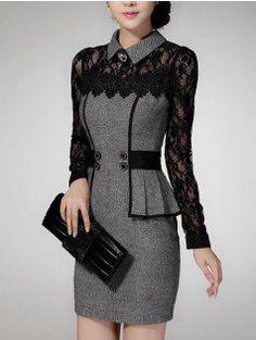 Vestidos casual dress winter Dress Selling Sweater Elegant Classical lace temperament package hip dress
