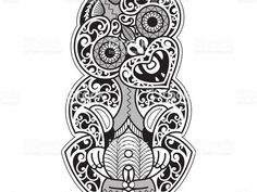"""Hei-Tiki illustration in a tribal Tattoo style. The Hei-Tiki is a Maori talisman, usually worn around the neck. It refers to the """"first man"""" and the ancestors. It offers protection and symbolizes. Celtic Tattoos, Maori Tattoos, Borneo Tattoos, Tiki Tattoo, Arte Tribal, Samoan Tribal, Filipino Tribal, Cross Tattoo For Men, Armor Tattoo"""
