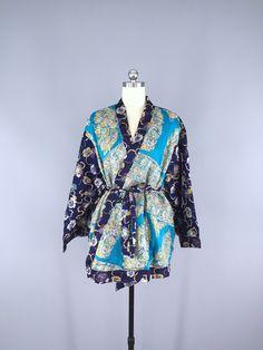 Silk Chiffon Kimono Cardigan / Vintage Indian Sari / Blue Pansy Embroidery #vintagesari #indiansari #sari #kimonocardigan #kimonojacket #kimono #boho #bohemian #wedding #dressinggown #cardigan #jacket #silksari #silk
