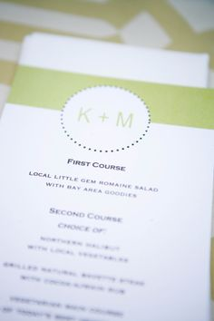 Green and white wedding reception menus by Mimi Marie Design