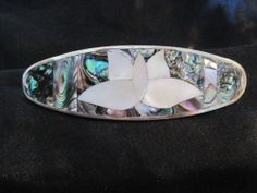 Hair Barrette Silver Plated with Abalone Flower