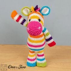 Rainbow zebra amigurumi pattern by One and Two Company