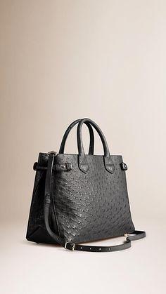 b0eb81498e9 Black The Medium Banner in Ostrich - Image 1 Purses And Handbags