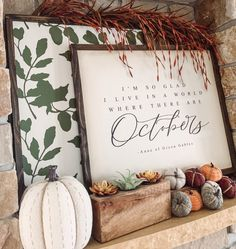 """""""I'm so glad I live in a world where there are Octobers"""" Love this fall décor sign that will make your home cozy and warm this autumn. Fall Home Decor, Autumn Home, Stilettos, Seasonal Decor, Holiday Decor, Autumn Decorating, Happy Fall Y'all, Fall Signs, Hello Autumn"""