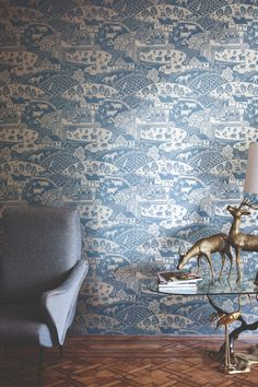 Gable by Farrow and Ball is a charming rural farm scene wallpaper design with pretty curved hills and farmyard animals. Shown here in the metallic gilver on blue background. Harlequin Wallpaper, Neutral Wallpaper, Red Wallpaper, Paper Wallpaper, Animal Wallpaper, Colorful Wallpaper, Wallpaper Ideas, Farrow And Ball Paint, Farrow Ball