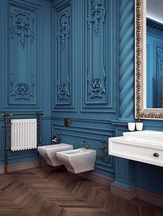 Красивый дизайн ванной комнаты в стиле барокко