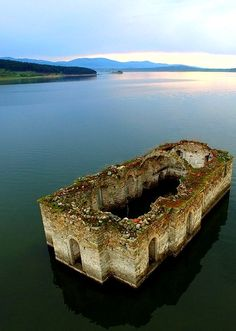 Partially submerged ruins of the St Ivan Rilski Church, visible at the Zhrebchevo. Bulgaria