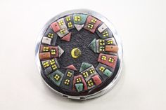 Art Pocket Mirror -- with beautiful handmade house -- compact mirror pocket.