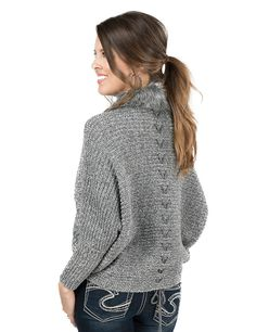 Ariat Women's Heather Grey with Fur Trim Long Sleeve Sweater | Cavender's
