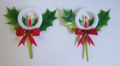 2 Vintage Cake Pick Decoration Christmas HOLLY CANDLE BOW Cupcake SOFT PLASTIC