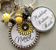 Sunflower Nana Personalized Keychain Mom Aunt by buttonit on Etsy, $23.50