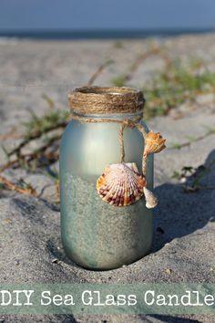 DIY Sea Glass Candle Holder + Sunset Beach Date Idea #CokeHappyHour #ad | SavingSaidSimply.com