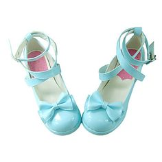 Blue PU Leather 4.5cm High Heel Classic Lolita Shoes with Bow – USD $ 49.99