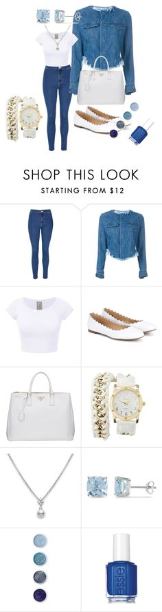"""Jeans=White"" by elvisa-mirsad ❤ liked on Polyvore featuring Glamorous, Marques'Almeida, Chloé, Prada, Charlotte Russe, Ice, Terre Mère and Essie"