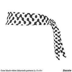 Cute black white labyrinth pattern tie headband Tie Headband, Black And White, Cute, Fabric, Pattern, Tejido, Tela, Black N White, Black White