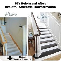 DIY Home Stairs stain + molding = big difference! Home Renovation, Home Remodeling, Staircase Remodel, Diy Home Improvement, Decoration, Home Projects, Diy Home Decor, Sweet Home, New Homes