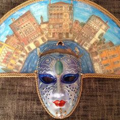 Venetian costume mask handmade, wearable, wall decoration, in gold ...