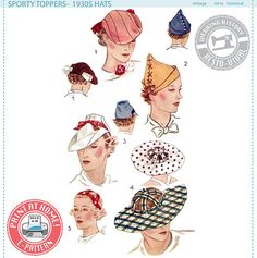 Wearing History #3012- E-Pattern-Sporty Toppers- 1930s Hats Size 22 Head  This listing is for an E-Pattern to print yourself at home on your home