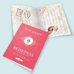 Weitere Einladungskarten-Ideen: Hochzeitseinladungen - Hochzeitskarten im Reisepass-Design!