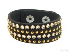 Boho Betty Cats Eye faux suede studded cuff bracelet