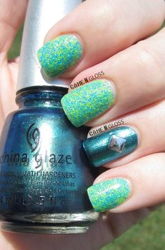 summer nails using China Glaze Deviantly Daring and Salon Perfect Kaboom.  facebook @ GAME N GLOSS