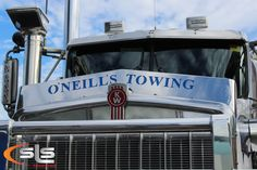 Bug Deflector with custom lettering we made for O'Neill's Towing. Trucks, Lettering, Vehicles, Calligraphy, Letters, Truck, Texting, Vehicle, Cars