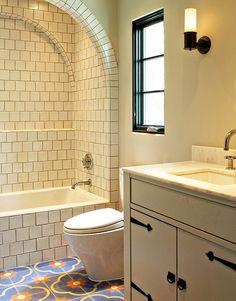 Moroccan bathroom tile bathroom mediterranean with white tile white tile wall sc Moroccan Tile Bathroom, Spanish Bathroom, Spanish Style Bathrooms, Spanish Style Homes, Bathroom Floor Tiles, Spanish Revival, Spanish Colonial, Wall Tile, Bathtub Tile