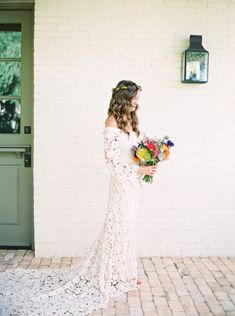bride in long sleeved, off-the-shoulder bohemian lace wedding dress - Melissa Jill Photography