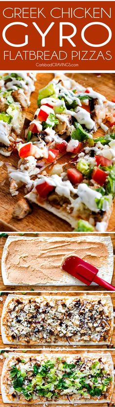Greek Chicken Gyro Flatbread Pizzas – these are amazing and SO quick and easy!  An explosion of flavors and textures with the most flavorful Greek Chicken and easy Blender Tzatziki!  Great for lunch/dinners or for appetizers and entertaining!  via /carlsbadcraving/