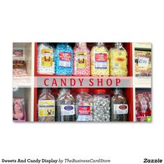 Sweets And Candy Display Standard Business Card Business Card Displays, Business Cards, Candy Display, Candy Shop, Company Names, Toffee, Sweets, Drinks, Postcards