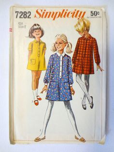 Vintage Simplicity Sewing Pattern 7282 (1967) Girl's Step-In Dress - Size 7