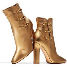 Gianvito Rossi Savoie Metallic Button-Loop Ankle Boot ($1,215) ❤ liked on Polyvore featuring shoes, boots, ankle booties, bootie boots, leather booties, short boots, high heel ankle booties and leather ankle booties