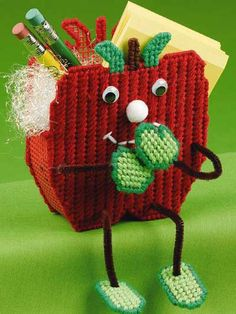 Apple Treat Sitter in Plastic Canvas