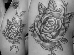 Roses Hip Tattoo- love the placement just without the thorns