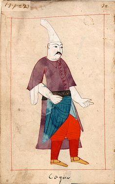 "Cook  ""Coquo"". The 'Rålamb Costume Book' is a small volume containing 121 miniatures in Indian ink with gouache and some gilding, displaying Turkish officials, occupations and folk types. They were acquired in Constantinople in 1657-58 by Claes Rålamb who led a Swedish embassy to the Sublime Porte, and arrived in the Swedish Royal Library / Manuscript Department in 1886."