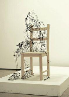 Wire Sculptures 3D sketch wire - David Oliveira